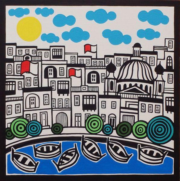 Malta, Seaside, Malerei,