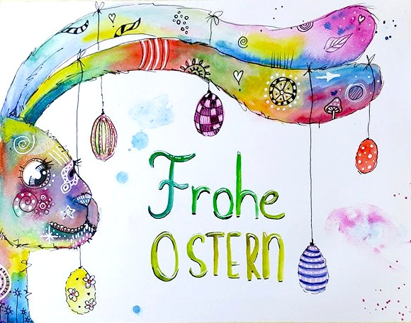 Ostern, Hase, Ei, Bunt, Happy painting, Illustrationen