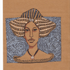 Muster, Braunes papier, Frau, Mischtechnik