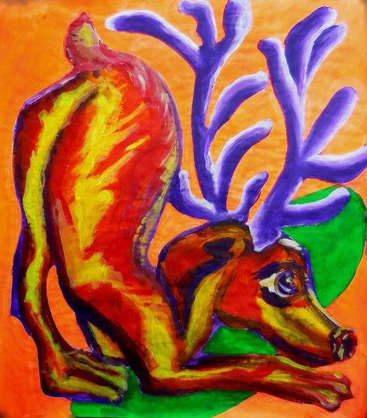 Humor, Expressionismus, Hund, Bunt, Tiere, Malerei