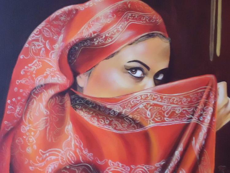 Mit rotem tuch, Frauenportrait, Verschleierte frau, Malerei, Frau