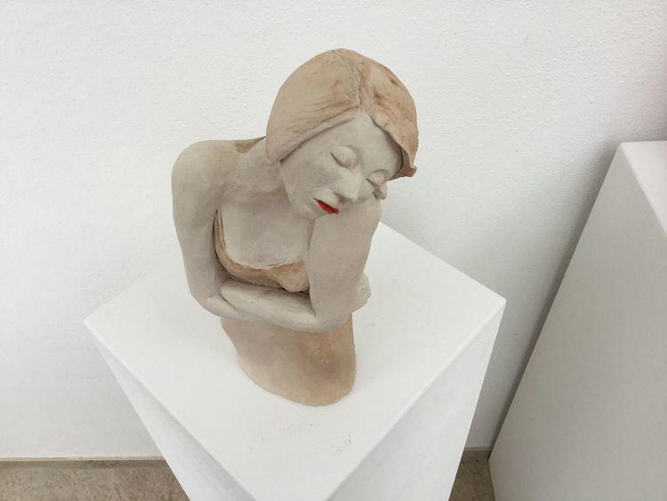 Mädchen, Denken, Figurativ, Schmerz, Keramik, Traurigkeit