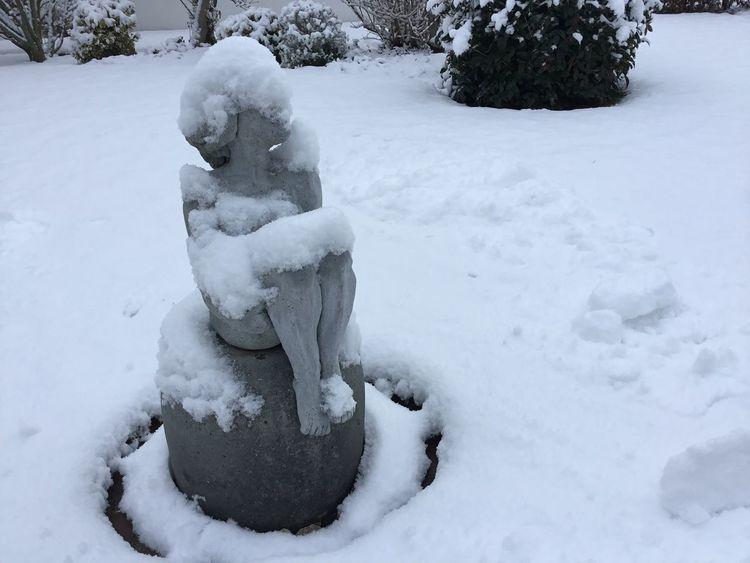 Skulptur, Tonplastik, Schnee, Akt, Garten, Kälte