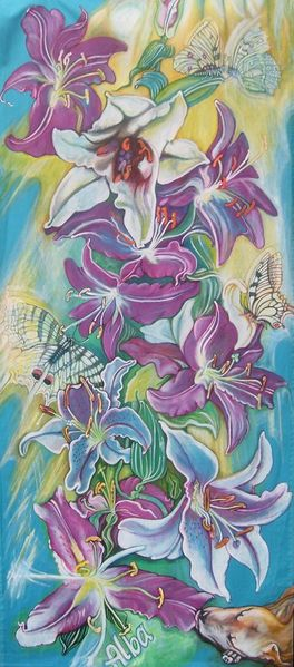 Lilien, Schmetterling, Hund, Kunsthandwerk, Textilfarbe, Leinen