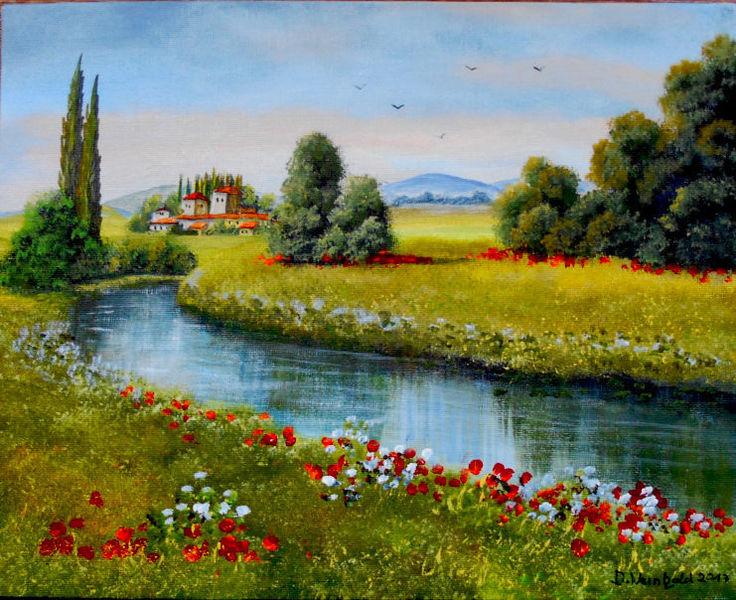 Ruhe, Dorf, Blüte, Abend, Mohn, Fluss