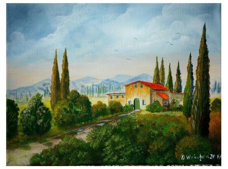 Urlaub, Toskana, Haus, Busch, Spaziergang, Grün