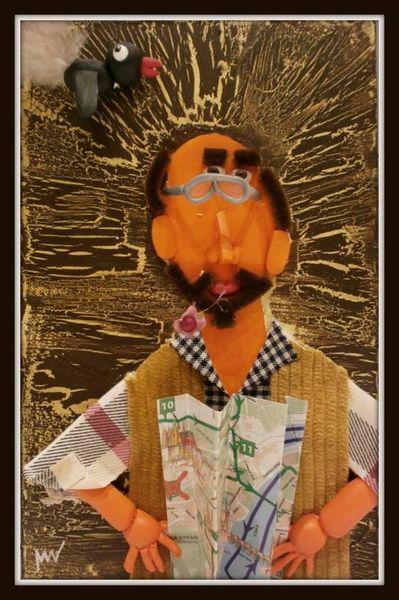 Blindportrait, Menschen, Acrylmalerei, Collage, Portrait, Mischtechnik