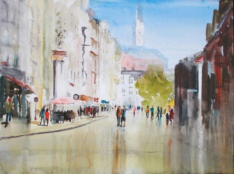 Stadt, Menschen, Gebäude, Architektur, Aquarell, Malerei