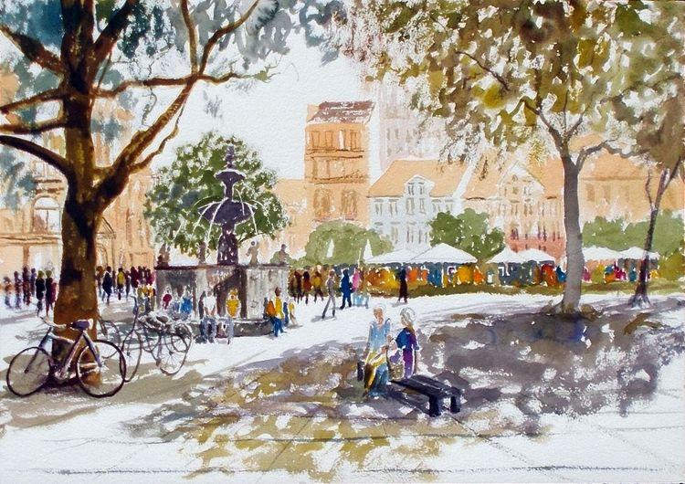 Menschen, Stadt, Bank, Sommer, Marktplatz, Baum