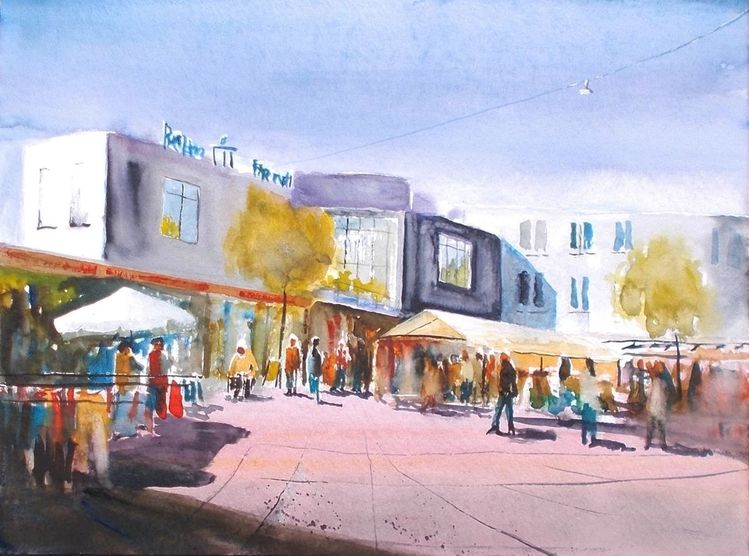 Shoppen, Einkaufszentrum, Gebäude, Markt, Menschen, Aquarell