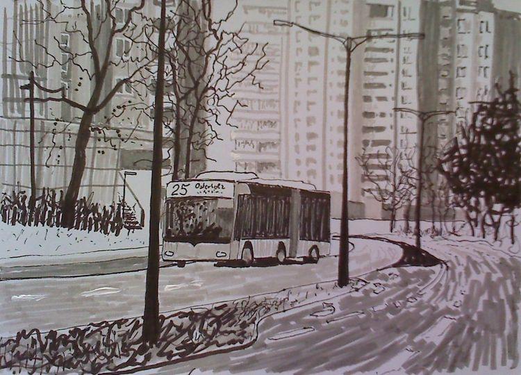 Allee, Straße, Citybus, Stadt bremen otto, Hochhaus, Zeichnungen