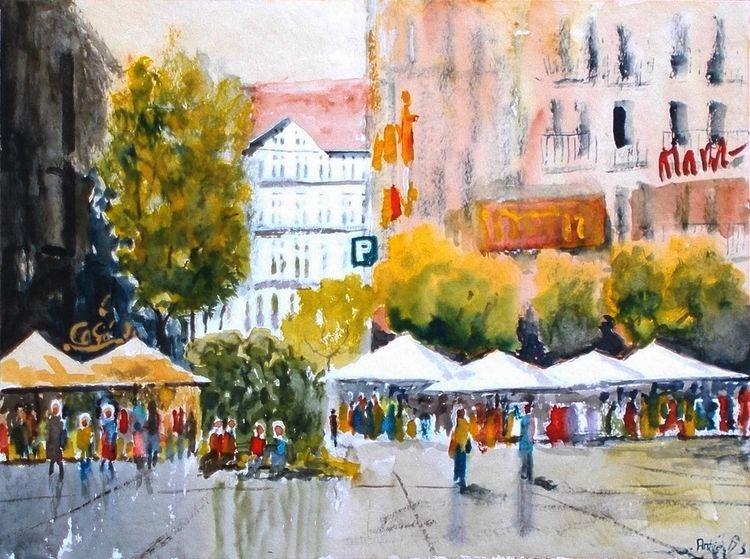 Baum, Markt, Gebäude, Stadt, Diesig, Menschen