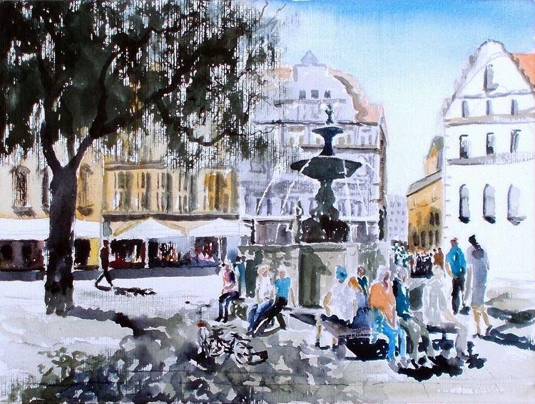Springbrunnen, Stadt, Schatten, Altstadt, Fahrrad, Menschen