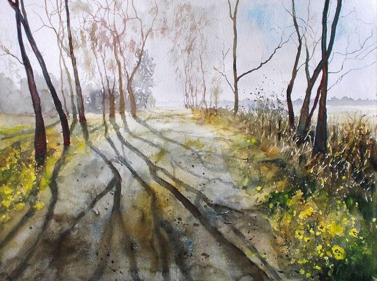 Baum, Natur, Schatten, Weg, Morgengrauen, Feld