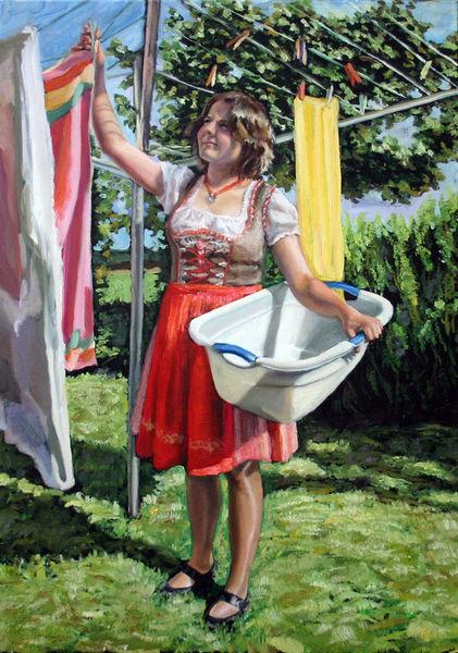 Mädchen, Kirchweih, Sonne, Hausarbeit, Dirndl, Landschaft