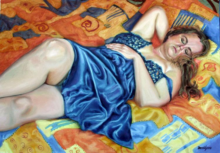 Frau, Bett, Schlaf, Tagschlaf, Malerei, Tag