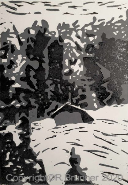 Winter, Schnee, Landschaft, Druckgrafik, Winterlandschaft