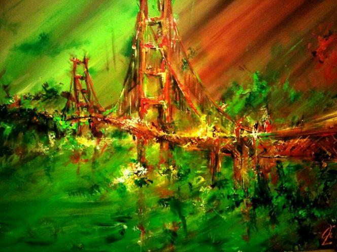 Brücke, Wasser, Hängebrücke, Acrylmalerei, Golden gate bridge, Malerei