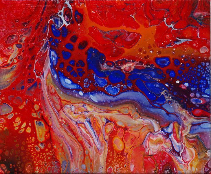 Bunt, Bluepaint, Rot, Acrylmalerei, Flipcup, Fliestechnik