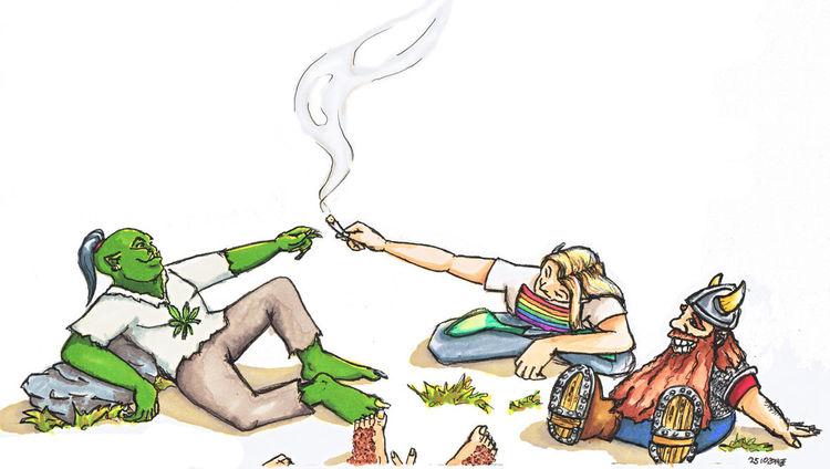 Einigkeit, Fröhlichkeit, Hoffnung, Zeichnung, Orks, Elfen