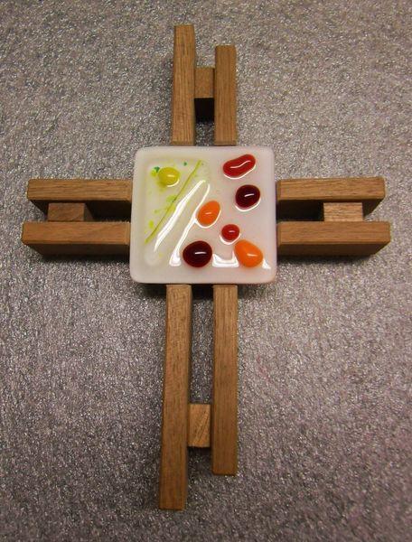 Glaskreuz, Holz, Glas, Kreuz, Fusing, Kunsthandwerk