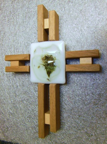Kreuz, Fusing, Holz, Glaskreuz, Glas, Kunsthandwerk
