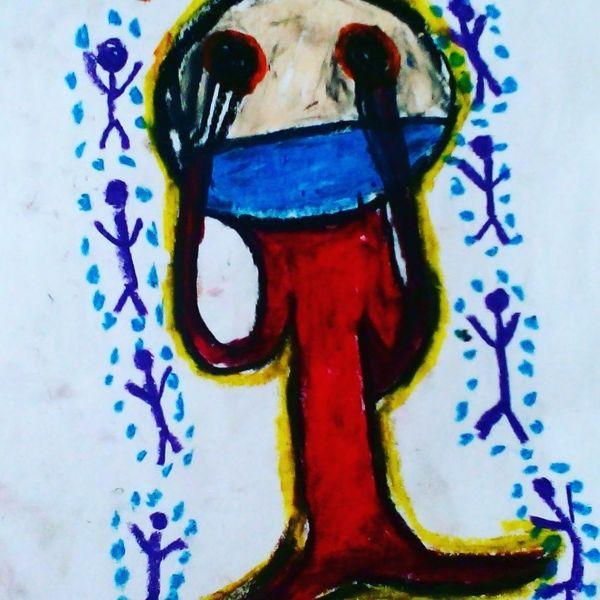 Mund, Hände, Augen, Malerei