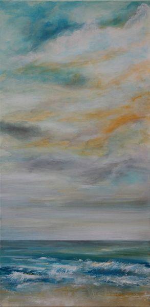 Brandung, Himmel, Meer, Wolken, Welle, Malerei