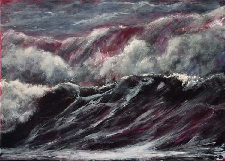 Meer, Welle, Wasser, Acrylmalerei, Landschaft, Brandung
