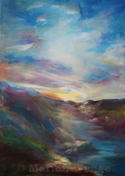 Licht, Berge, Landschaft, Wolken, Acrylmalerei, Himmel