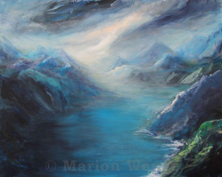 Landschaft, Himmel, Berge, Wasser, Malerei