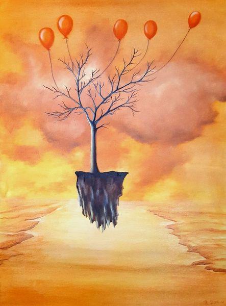 Fantasie, Ölmalerei, Surreal, Orange, Baum, Landschaft