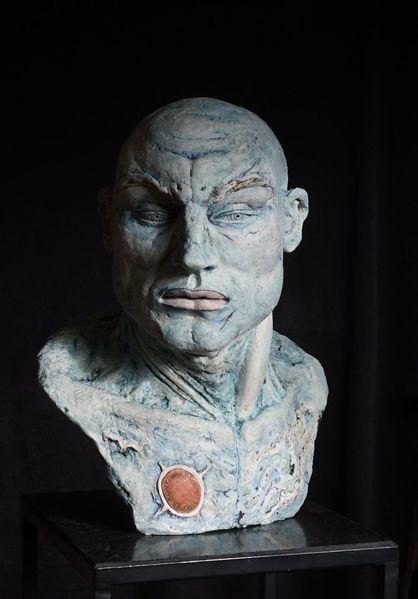 Torso, Kopf, Mann skulptur, Figurativ, Heidelberg, Keramikfigur