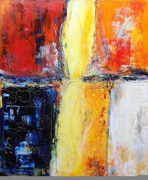 Acrylmalerei, Struktur, Gelb, Rot, Expressionismus, Spachteltechnik