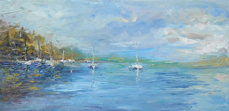 Boot, Gemälde, Wasser, Sommer, See, Ölmalerei
