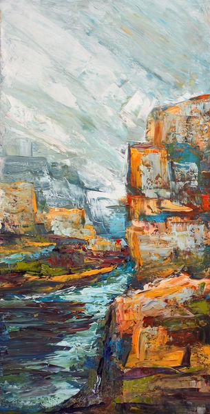 Ardeche, Fluss, Felsen, Frankreich, Malerei
