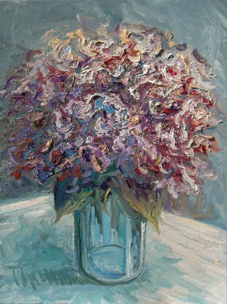 Hortensien, Blumenstrauß, Blumen, Gemälde, Pflanzen, Vase