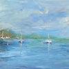 Sommer, See, Ölmalerei, Boot
