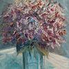 Hortensien, Blumenstrauß, Blumen, Gemälde