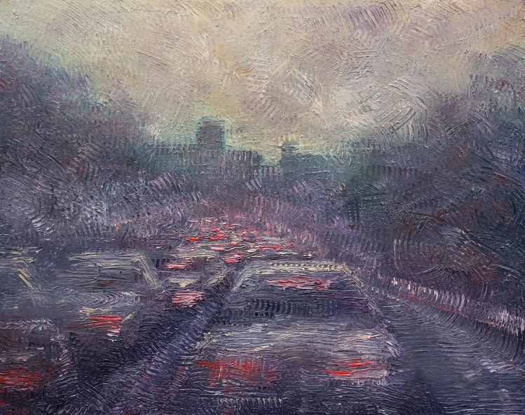 Auto, Verkehr, Autobahn, Feierabend, Straße, Abend