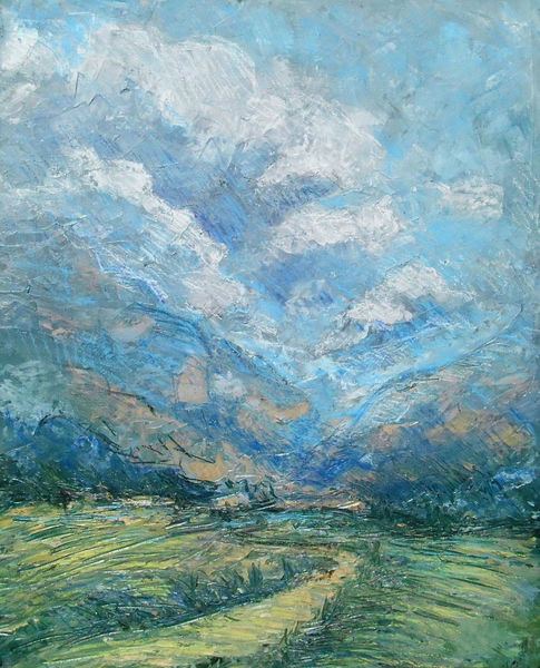 Landschaft, Berge, Wolken, Weg, Malerei