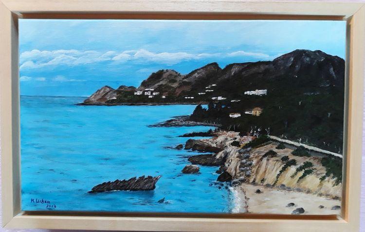 Bucht, Wasser, Insel, Malerei, Mallorca