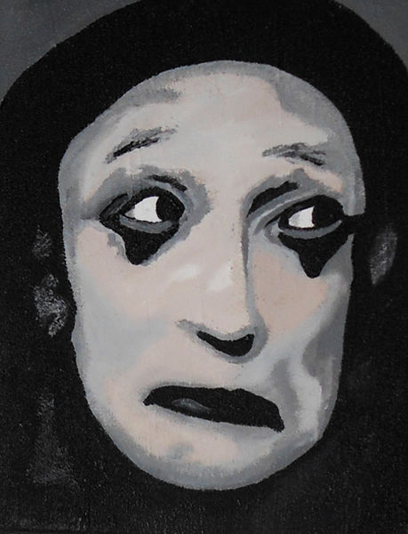 Portrait, Pantomime, Marcel marceau, Malerei, Acrylmalerei
