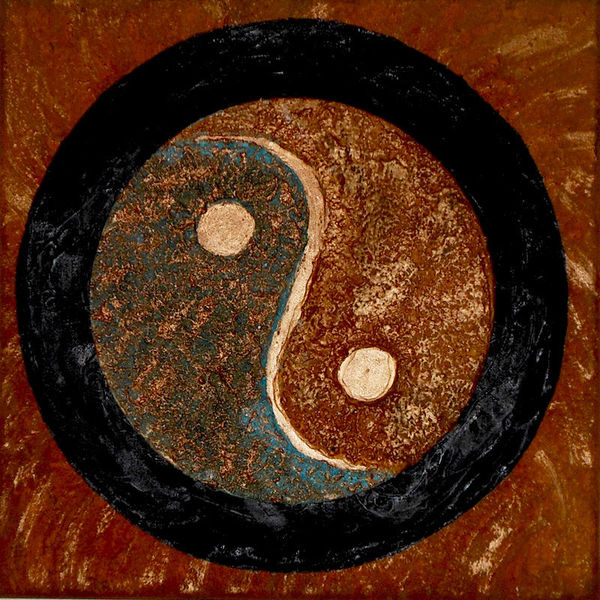Rost, Patina, Ying yang, Kupfer, Collage, Mischtechnik