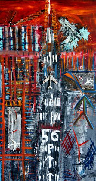 Flugzeug, Startbahn, Abstrakt, Malerei,