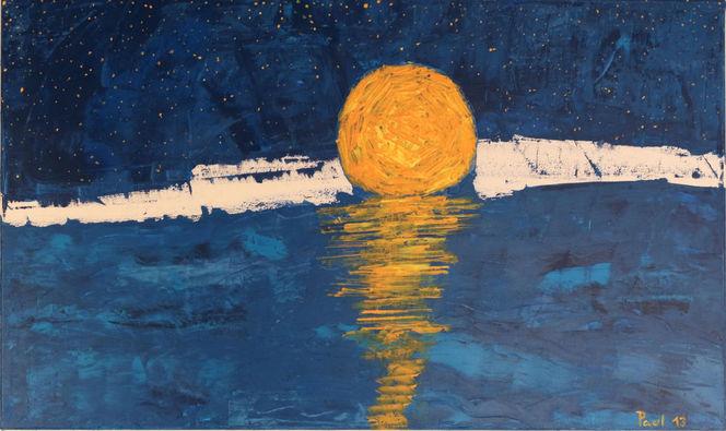 Acrylmalerei, Stern, Blau, Mond, Gelb, Wuppertal
