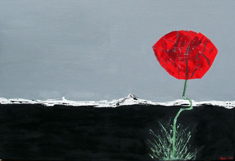 Asphalt, Rot, Grauschwarz, Abstrakt, Mohn, Malerei