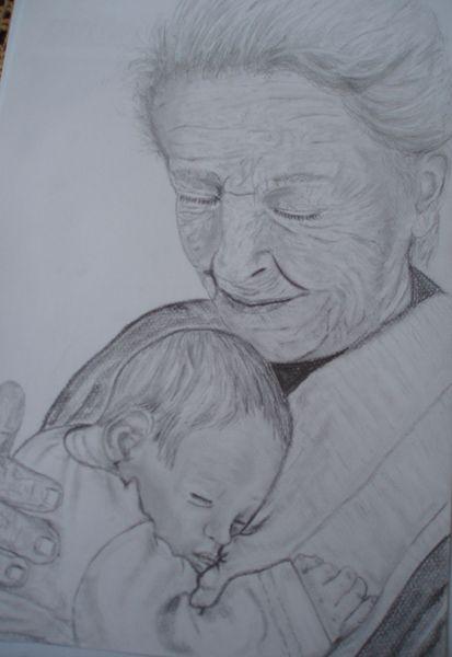 Kind, Geborgen, Baby, Herz, Gesicht, Portrait