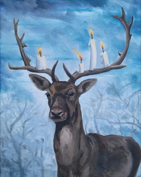 Advent, Kerzen, Geweih, Hirsch, Malerei