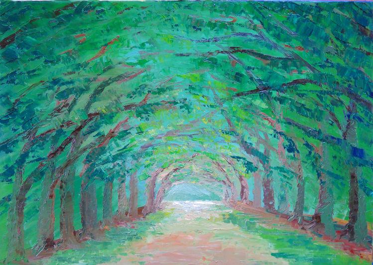 Allee, Baum, Spachtel, Weg, Malerei,